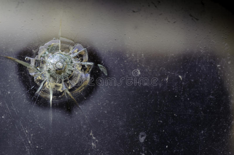 Download Bullet Hole In Old Truck Window Stock Photo - Image: 83194724
