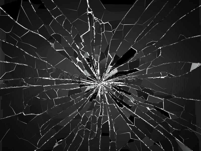 Bullet hole and pieces of shattered or smashed glass stock illustration