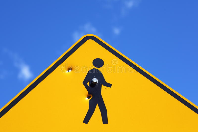 Download Bullet holes in road sign stock photo. Image of abstract - 33907814