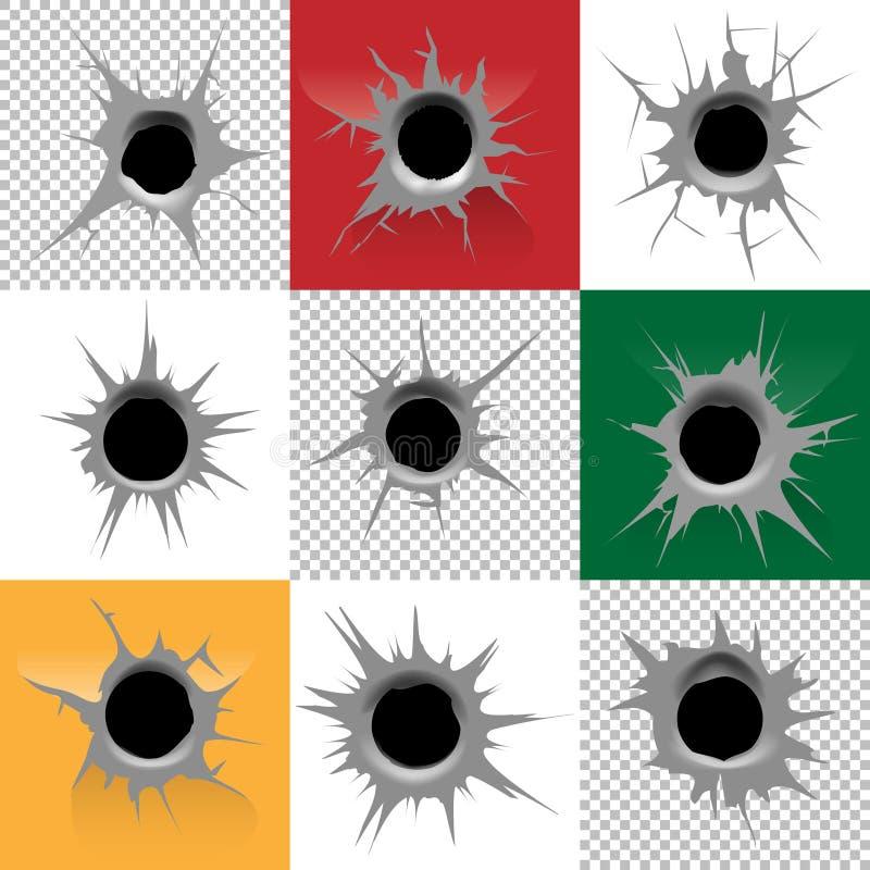 Bullet holes vector set. Shot and crack, destruction and violence illustration royalty free illustration