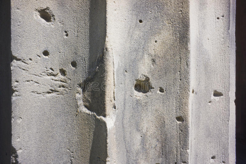 Download Bullet Holes on a Wall stock image. Image of pillar, grunge - 25476453