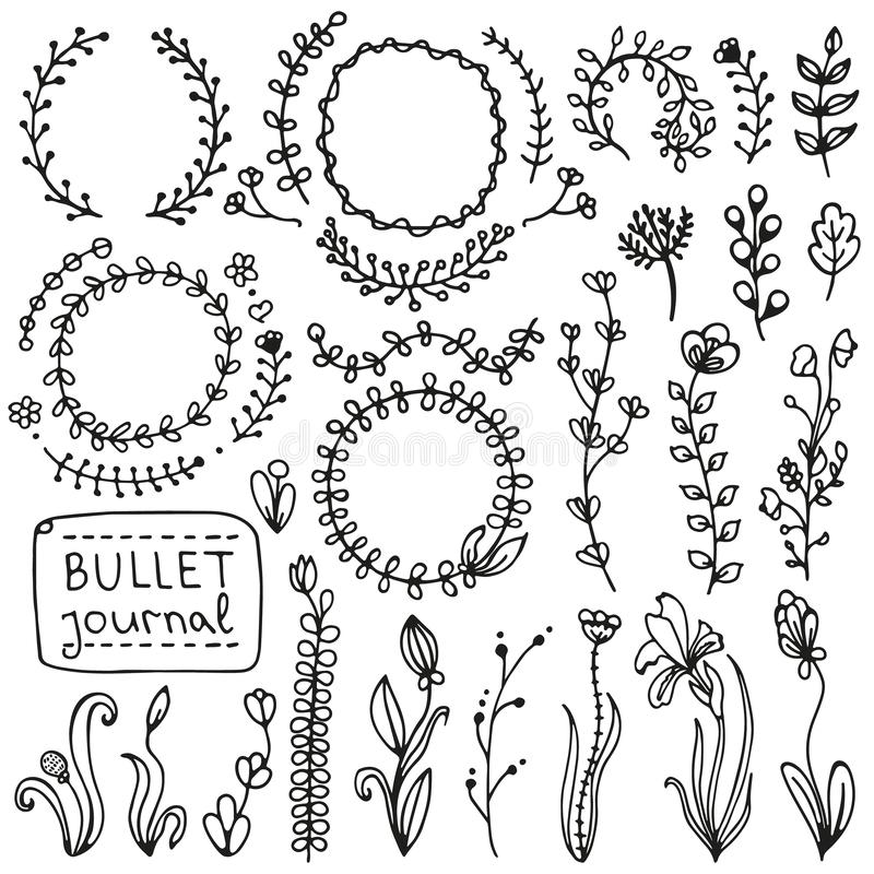 Set of doodles branches, herbs, flowers, plants. Bullet journal hand drawn vector elements for notebook, diary and planner. Set of doodles branches, herbs stock illustration