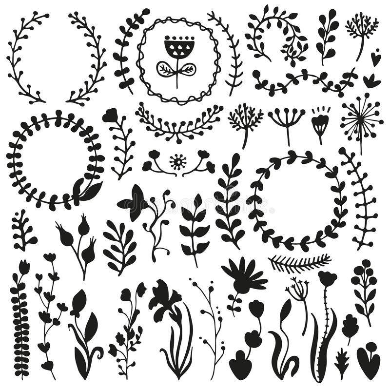 Set of doodles branches, herbs, flowers, plants. Bullet journal hand drawn vector elements for notebook, diary and planner. Set of doodles branches, herbs royalty free illustration