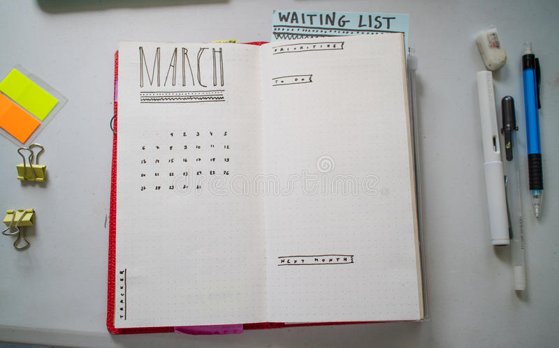 Bullet journal in March royalty free stock photography