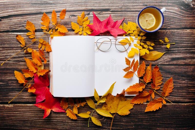 Bullet Journal puste strony notebooku w przytulnej przestrzeni z filiżanką herbaty imbirowej z emalią, okularami i kolorowym czer zdjęcie royalty free