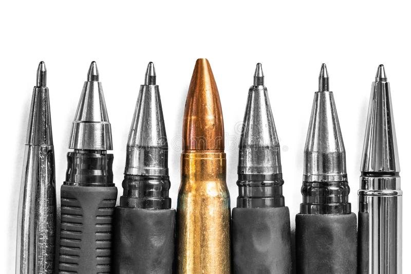 Bullet and pens on white background. Freedom of the press is at risk concept. World press freedom day concept.  stock images