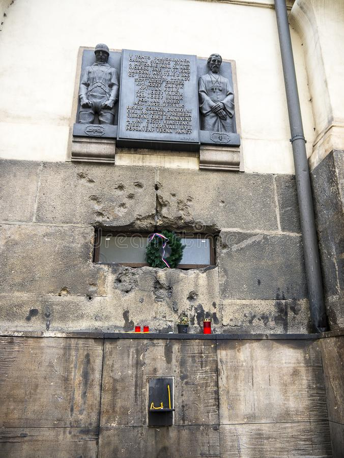 Free Bullet Riddled Wall Of The Czech Orthodox Church Of St Cyril And St Methodius In Prague Stock Images - 149029174