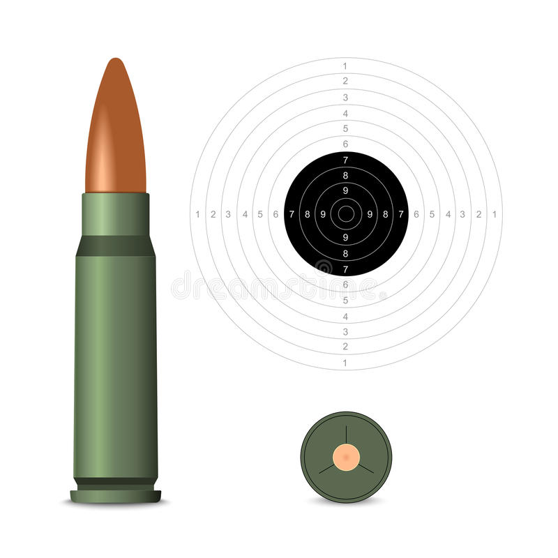 Bullet. Rifle bullet on white target background. Vector illustration royalty free illustration
