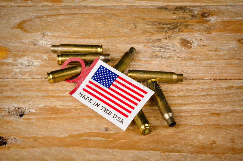 Bullet shells and US flag. A cultural concept stock image