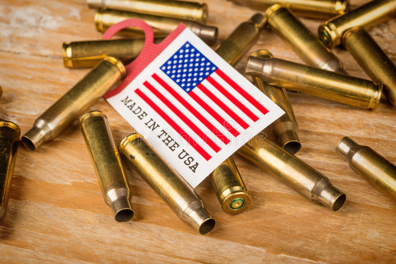 Bullet shells and US flag. A cultural concept stock photos