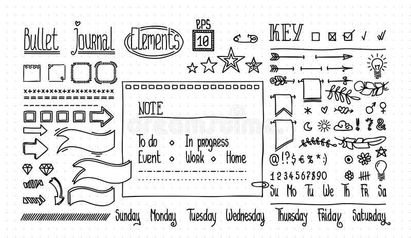 Bullet-Tagebuch und Tagebuchelemente auf Punktstruktur Handgezogene Doodle-Banner für Notebooks Anzahl und Tage der vektor abbildung