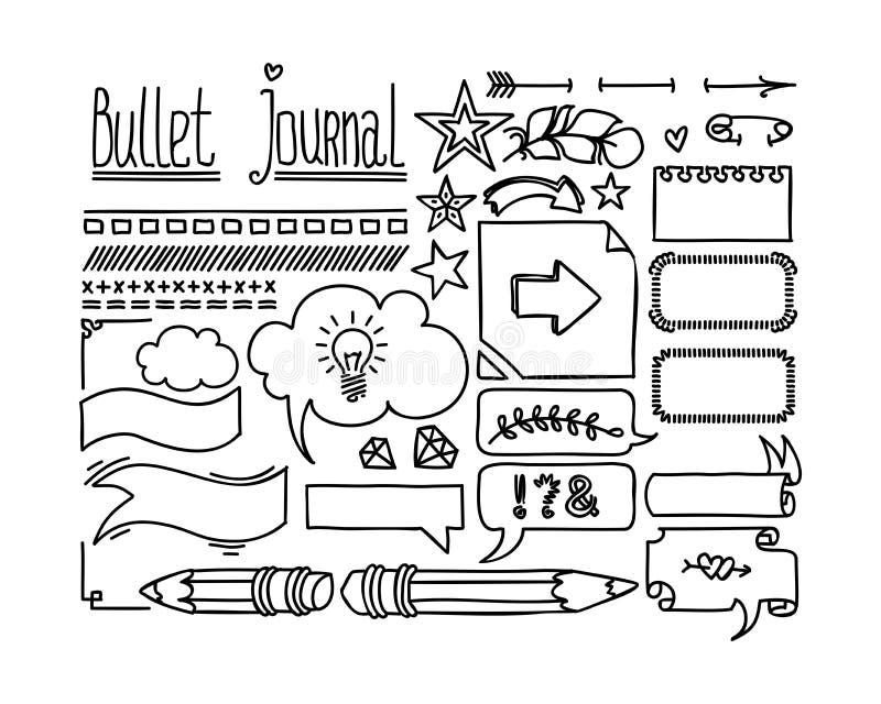 Bullet-Tagebuch- und Tagebuchelemente Feine handgezogene Doodles-Rahmen und Banner Handgezeichneter Doodle für Notebooks lizenzfreie abbildung