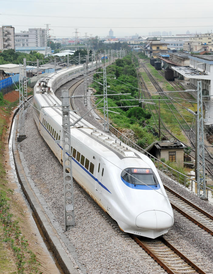 Download Bullet train stock photo. Image of powerline, building - 14501550