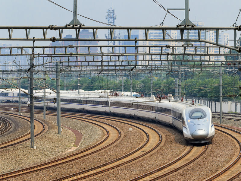 Bullet train departs from Beijing, China. BEIJING-JUNE 5, 2016. Bullet train departs from Beijing. Past 10 years China built 20,000km high-speed rail, 20 urban stock photography