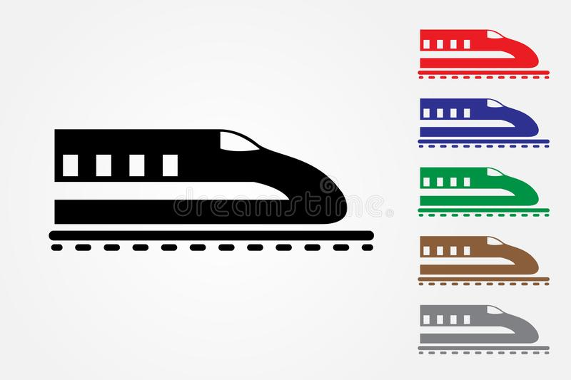 Bullet train logos on rail using one color on white background vector to mean fast delivery system stock illustration