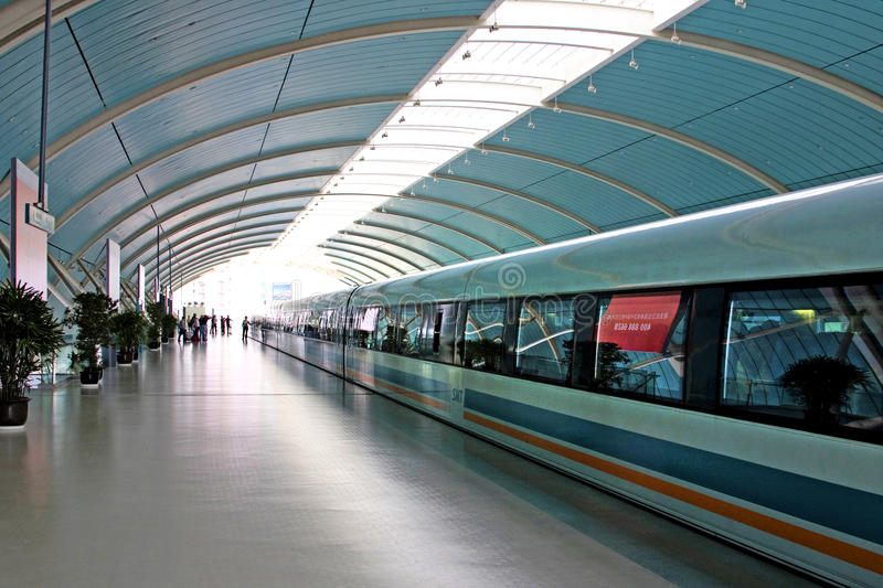 Bullet train waiting in the station, Shanghai, China royalty free stock photos