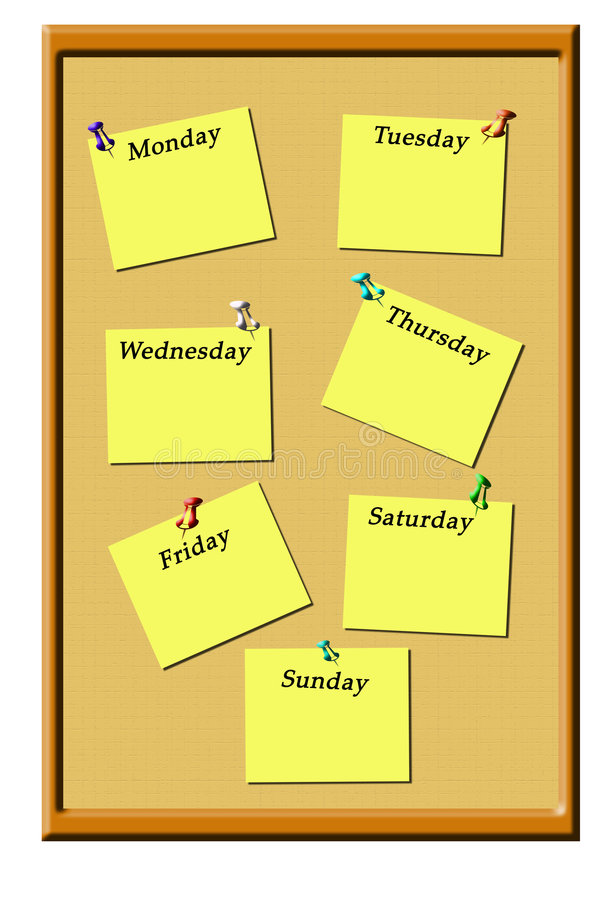 Bulletin board. Illustration of a bulletin board with pegged daily reminders royalty free illustration
