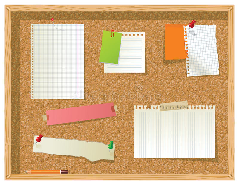 Bulletin board. With paper pieces over white background stock illustration