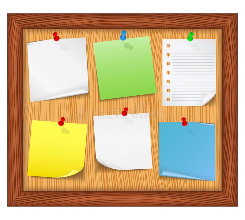 Bulletin board. Wooden bulletin board with paper notes royalty free illustration