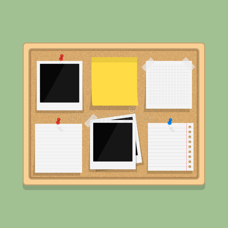 Bulletin Board. With blank paper notes, sticky paper and photos, flat design vector illustration