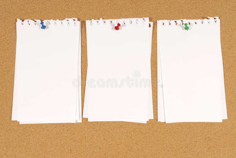 Torn Note Paper Pinned To Cork Notice Board Background ...