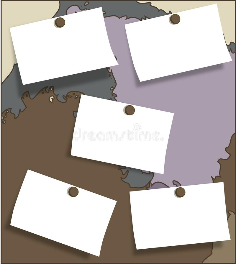 Bulletin board. Image representing a decorated bulletin board with three post it in which You can write everything You need stock illustration