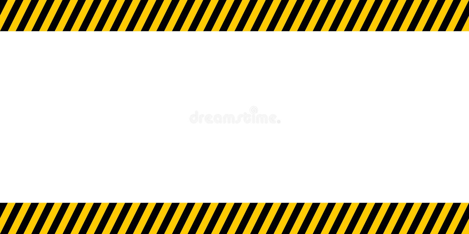 Bulletin board important announcements, yellow and black diagonal stripes, vector warn caution construction danger border stock illustration