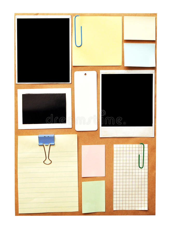 Download Bulletin board with notes stock photo. Image of yellow - 16289062