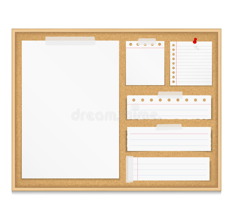 Bulletin Board. With paper attached by tape and push pin, corkboard with paper notes royalty free illustration