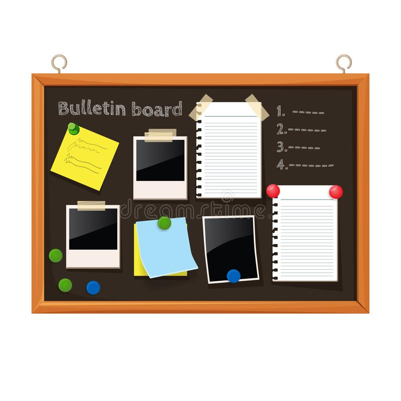Bulletin board with paper notes, do list on black corkboard. Bulletin board with paper notes on pins and do list on black corkboard vector illustration on white vector illustration