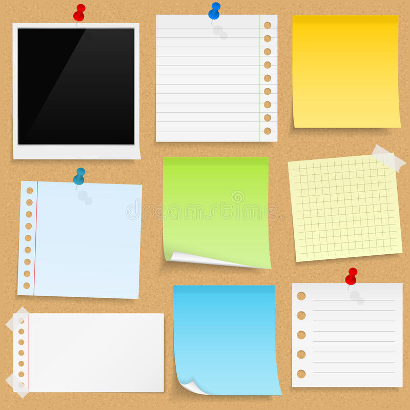 Bulletin Board. Paper notes, sticky papers an photo frames on bulletin board royalty free illustration