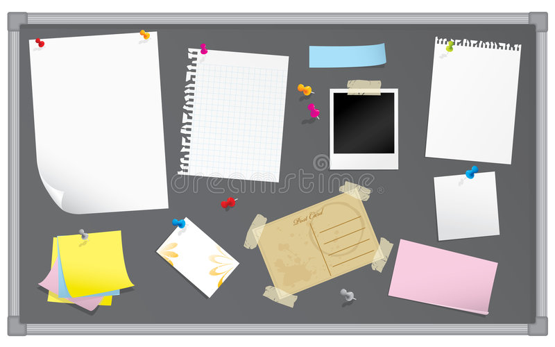 Bulletin board with stationery. All elements grouped for easy editing. Please check my portfolio for more stationery illustrations royalty free illustration