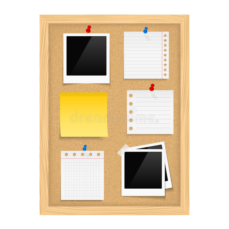 Bulletin Board. Vertical bulletin board with photo frames and paper notes royalty free illustration