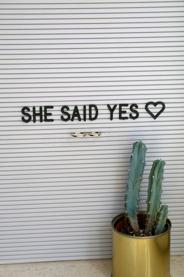 Wedding Rings. Bulletin board with wedding rings and love message, and cactus on a shelf. Wedding concept stock photos