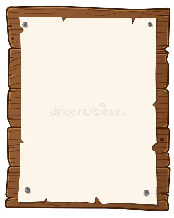 Bulletin board. Wooden bulletin board with paper for writing text stock illustration