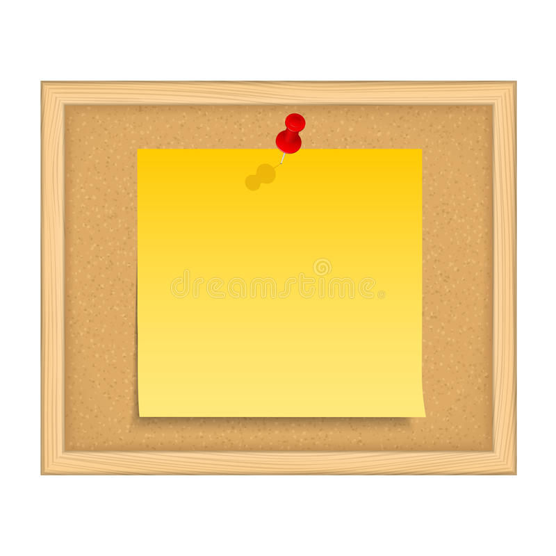 Bulletin Board. With yellow paper note vector illustration