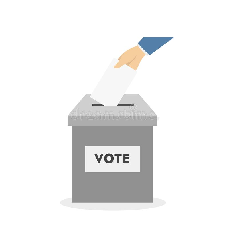 Bulletin in box. Bulletin in ballot box. Hand putting paper inside vector illustration