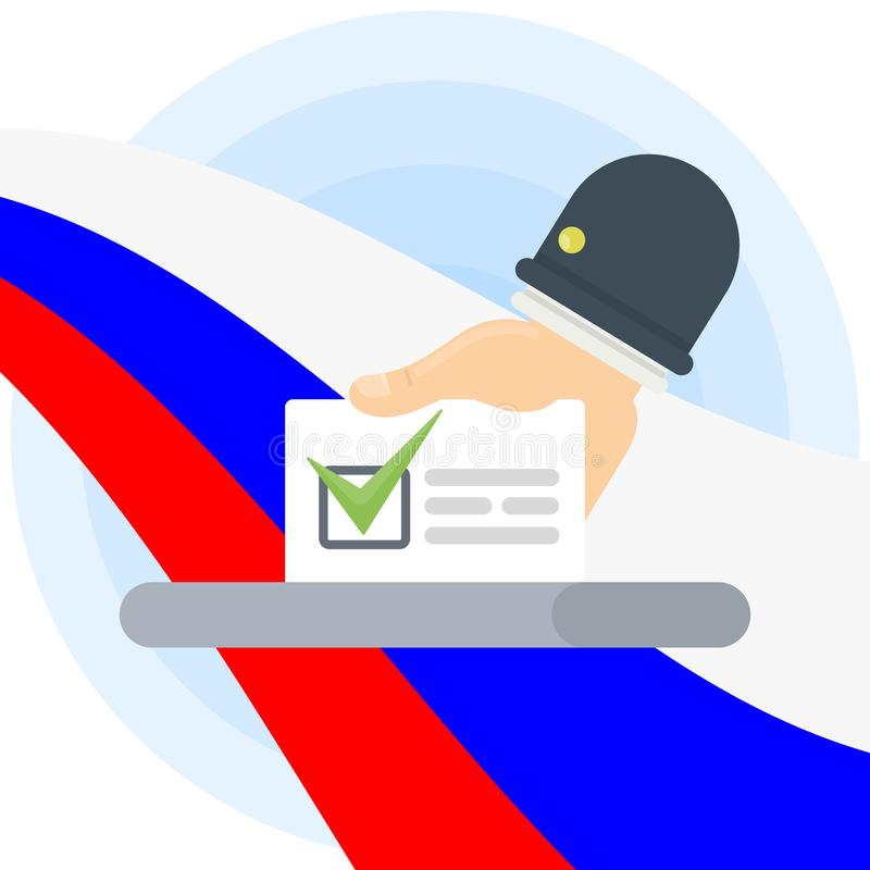 Bulletin in box. Bulletin in ballot box with tick mark and russian flag on background stock illustration