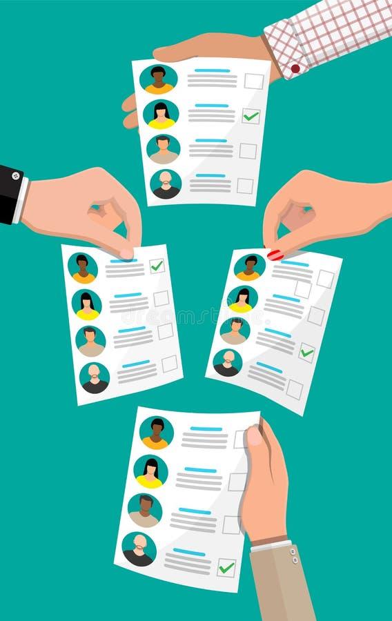 Bulletin de vote avec des candidats illustration de vecteur