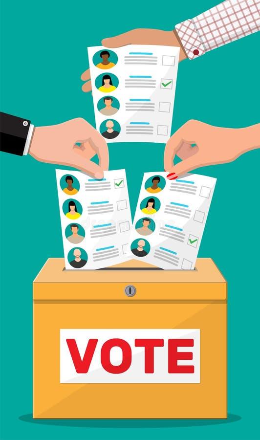 Bulletin de vote avec des candidats illustration libre de droits