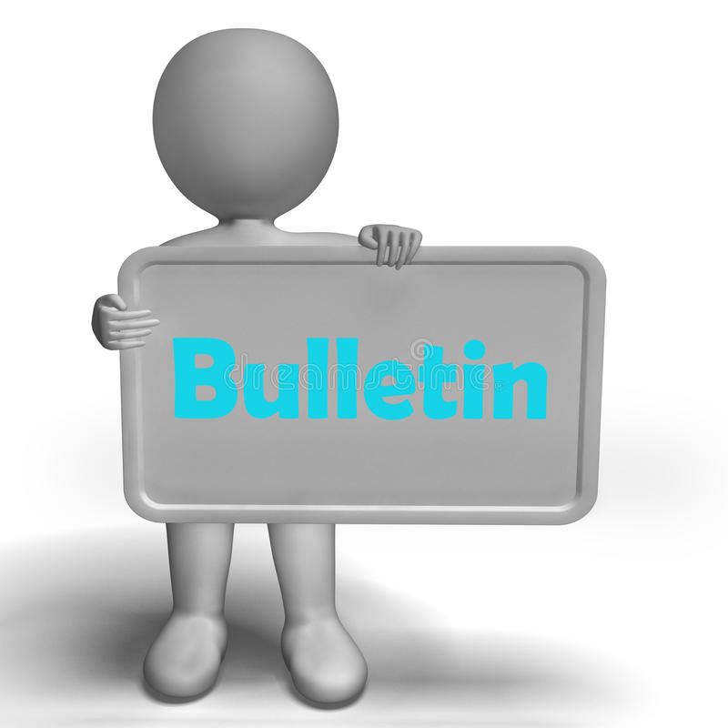 Bulletin Sign Shows Media Reporting Or News. Bulletin Sign Showing Media Reporting Or News vector illustration
