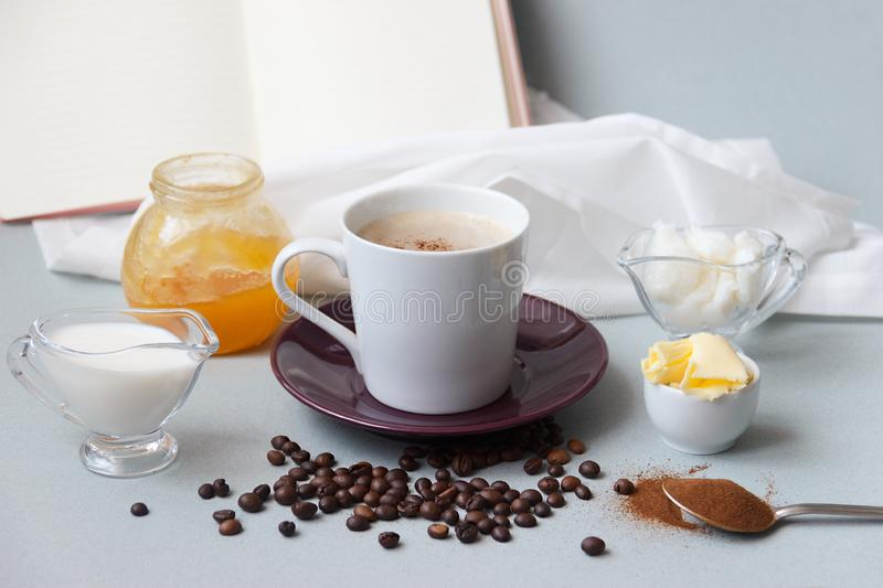 Bulletproof coffee recipe keto. it works ketogenic diet. On the background of honey and an open book with copy space for. Text royalty free stock photography