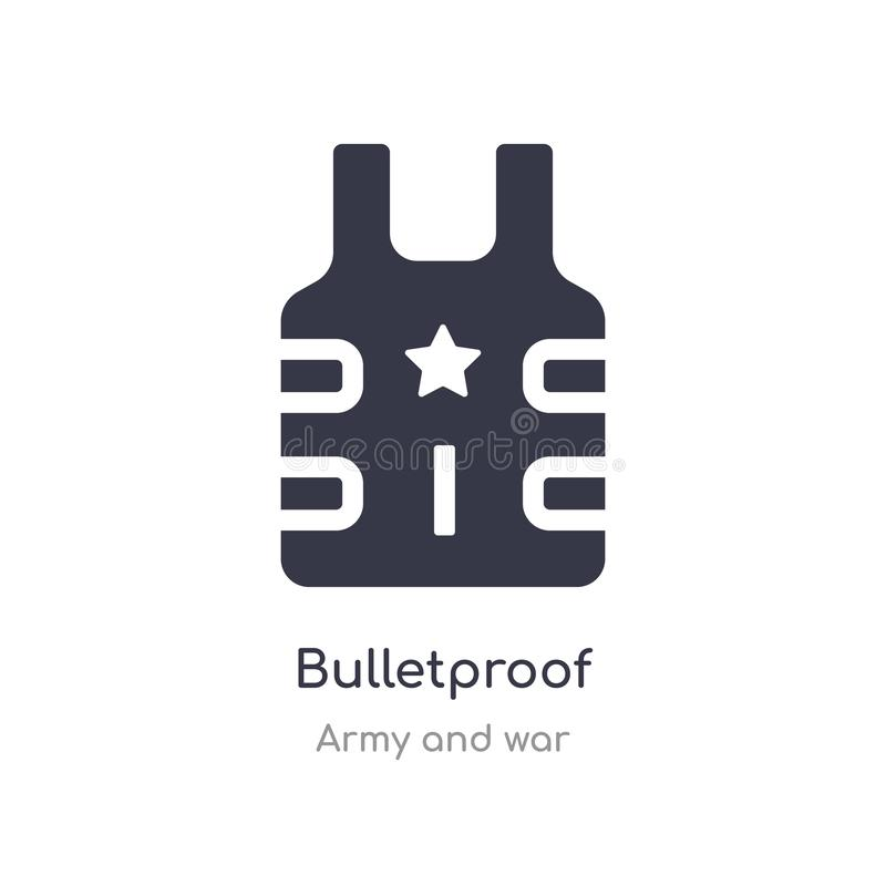 Bulletproof icon. isolated bulletproof icon vector illustration from army and war collection. editable sing symbol can be use for. Web site and mobile app stock illustration