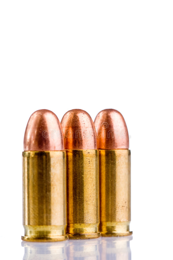 Bullets. Close up of bullets isolated on white royalty free stock photos