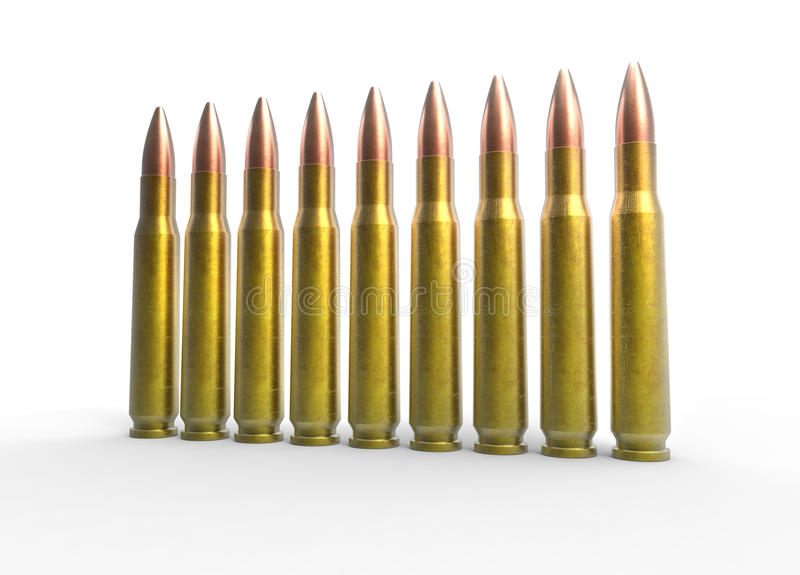 Bullets - Angle Shot. On white background stock photos