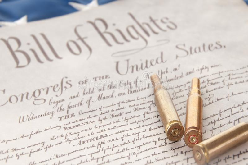 Download Bullets on Bill of Rights stock photo. Image of arms - 18247528