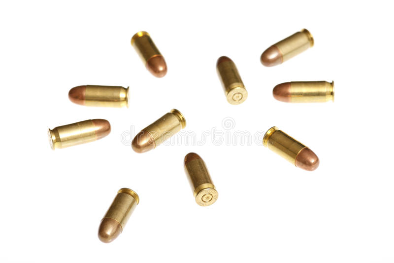 Bullets isolated on white stock photo