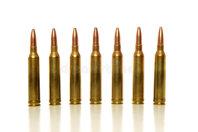 Bullets in line stock photography