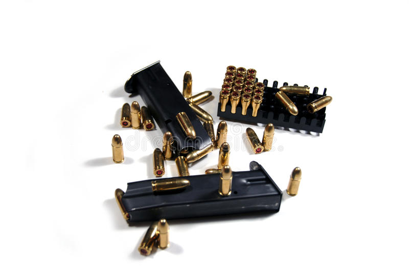 Bullets and magazines stock photography