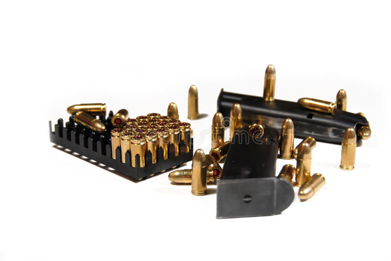 Bullets and magazines stock image